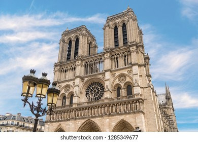 Famous Notre Dame Cathedral in Paris France
