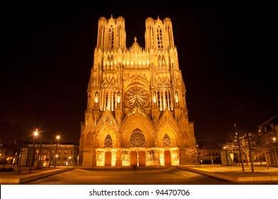 Famous Notre-Dame de Reims at night, UNESCO World heritage site