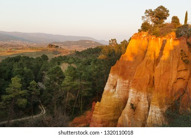 Famous ochre rocks around Roussillion village in Provence, France