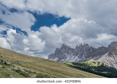 The famous Odle mountain massif as seen from the trail to Brogles refuge from Rasciesa chalet, via Brogles-Sattel pass, Dolomites, Ortisei village, Gardena valley, Funes valley, South Tyrol, Italy  - Shutterstock ID 431930896