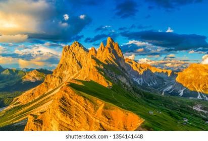Famous Odle Mountain range at sunset, Seceda, Dolomite, Italy.