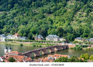 The famous old bridge (aka Neckar Bridge) of Heidelberg with a view to the hill side, Germany