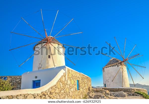 The famous old pictorial windmills of Mykonos town in Mykonos island in Greece