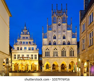 The famous old town hall of Muenster, Germany, where the Thirty Years' War ended in 1648 next to the as 'Stadtweinhaus' known building to the left.