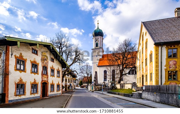 famous old town of oberammergau - bavaria - germany
