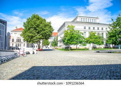 Famous old university square in Halle Saale, Germany