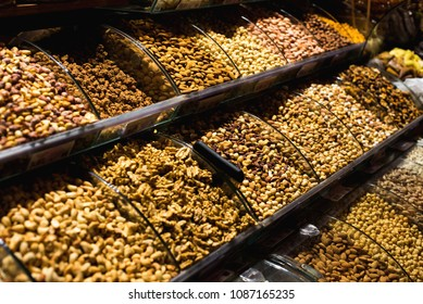 The famous oriental market. Dried nuts and spices in Istambul,
