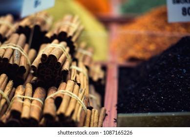 The famous oriental market. Typical cinnamon sticks in Istambul, Turkey