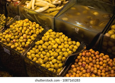The famous oriental market. Typical olives in Istambul, Turkey
