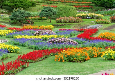 Famous ornamental garden with colorful flowers in norther of Thailand