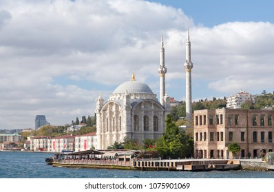 Famous Ortakoy Mosque - Grand Imperial Mosque of Sultan Abdulmecidthe in Besiktas, Istanbul, Turkey. It was built between 1854 and 1856.