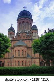 Famous orthodox Church of the Three Saints in Chernivtsi city, Ukraine. Former Metropolitan home church. Church on the territory of Chernivtsi University.