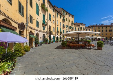 The Famous Oval City Square on a Sunny Day in Lucca, Tuscany, Italy