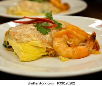 Famous Pad Thai or Shrimp Noodles  from Bangkok Thailand