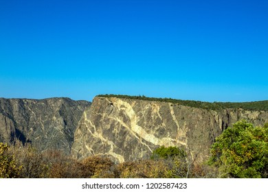 "Famous ""painted wall"" on the south rim of Black Canyon of the Gunnison National Park in Colorado"