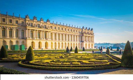 Famous palace Versailles with beautiful gardens outdoors near Paris, France. The Palace Versailles was a royal chateau and was added to the UNESCO list of World Heritage Sites.  - Shutterstock ID 1360459706