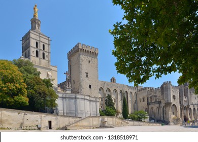 Famous Palais des Papes and Cathedral Notre Dame des Doms at Avignon, a commune in south-eastern France in the department of Vaucluse on the left bank of the Rhône river, famous by his bridge