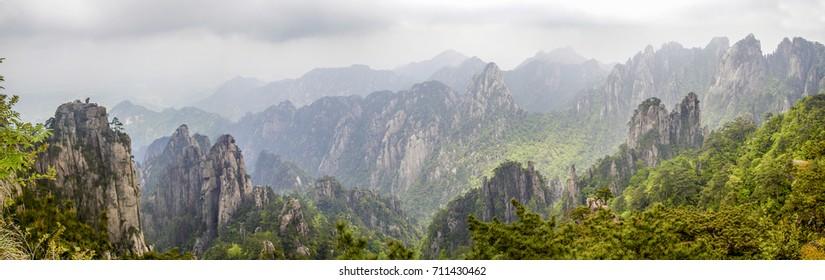 "Famous panorama mountain landscape  ""Monkey watch sea""  of Huangshan- China"