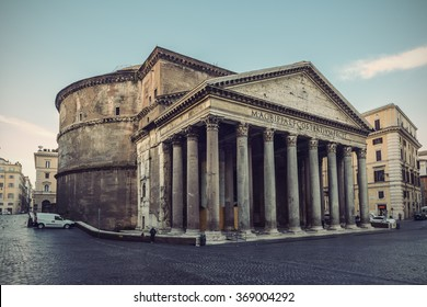 famous Pantheon in Rome, Italy, Europe, vintage filtered style