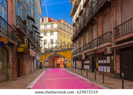 The famous pedestrian Pink street of Rua Nova do Carvalho in the Cais do Sodre area of Lisbon, Portugal