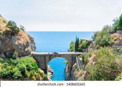 famous picturesque road viaduct of Amalfitana summer coast, Italy