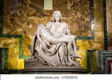 Famous Pieta sculpture by Michelangelo in Saint Peter's Basilica, Rome.