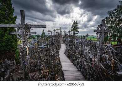 Famous pilgrimage site called Hill of Crosses, Lithuania