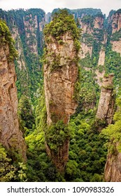 The famous pillar of Avatar Floating Mountain in Zhangjiajie National Forest Park, Hunan Province China