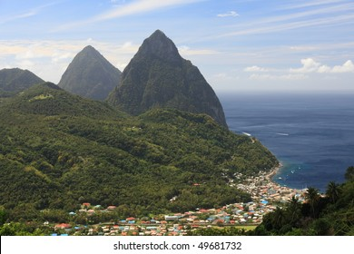 Famous Pitons on St. Lucia in the Caribbean