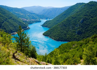 The famous Piva Canyon with fantastic reservoir. National park Durmitor, Montenegro and Bosnia and Herzegovina, Balkans, Europe. Beautiful nature travel background.