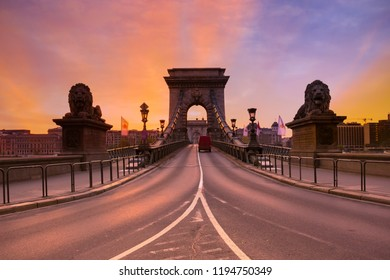 Famous place of Budapest with  road to View of  Chain bridge on Danube river in Budapest with twilight sky in the morning,travel concept