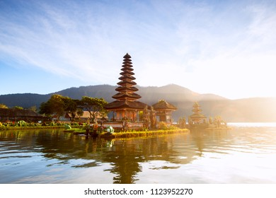 famous place on the island of Bali, a temple on the lake. Beautiful scenery at dawn in Indonesia