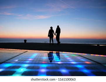 The famous place to see sunset for tourist named Greeting to the sun located in Zadar of Croatia