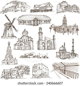Famous places and Architecture around the World - Collection (no.13) of an full sized hand drawn illustrations. Hand drawn illustrations drawing on white background.