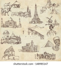 Famous places, buildings and architecture around the world (set no.1, old paper ) - Collection of an hand drawn illustrations. Description: Full sized hand drawn illustrations drawing on old paper.