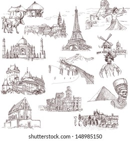 Famous places, buildings and architecture around the world (set no.1, white ) - Collection of an hand drawn illustrations. Description: Full sized hand drawn illustrations drawing on white background.