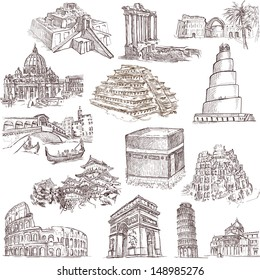 Famous places, buildings and architecture around the world (set no.2, white ) - Collection of an hand drawn illustrations. Description: Full sized hand drawn illustrations drawing on white background.
