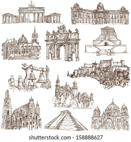 Famous places, buildings and architecture around the World (set no.4, white) - Collection of an hand drawn illustrations. Description: Full sized hand drawn illustrations drawing on white background.