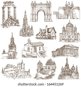 architectural drawings of famous buildings. Famous Places, Buildings And Architecture Around The World (set No.5, White Architectural Drawings Of