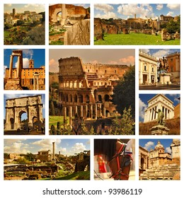 Famous places in Rome, Italy. Collage. Around the Colloseum and Roman Forum.