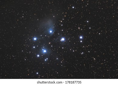 Famous Pleiades nebula in zodiac constellation of the Bull.