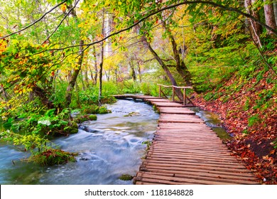 Famous Plitvice lakes with beautiful autumn colors and magnificent views of the waterfalls in Croatia, Plitvice national park