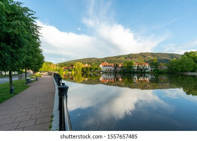 Famous pond in the town of Ilsenburg with Mirroring