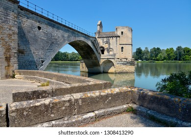 Famous Pont of Saint Bénézet or Pont d'Avignon with the Chapel of Saint Nichola on the Petit Rhône at Avignon, a commune in south-eastern France in the department of Vaucluse
