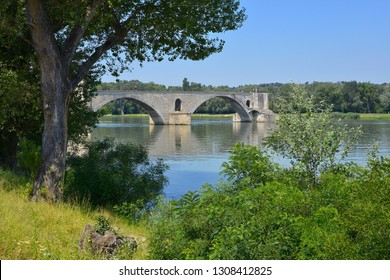 Famous Pont of Saint Bénézet on the Petit Rhône at Avignon, a commune in south-eastern France in the department of Vaucluse on the left bank of the Rhône rive.