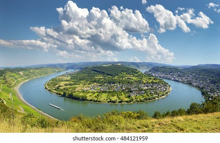Famous popular Wine Village of Boppard at Rhine River, middle Rhine Valley, Germany. Rhine Valley is UNESCO World Heritage Site