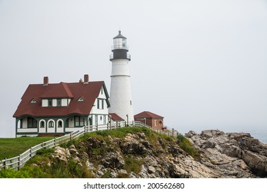 The famous Portland Head lighthouse in heavy fog