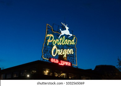 Famous Portland Oregon neon sign lit up at night