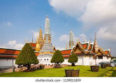 famous Prangs in the Grand Palace in Bangkok in the temple area of the emerald buddha