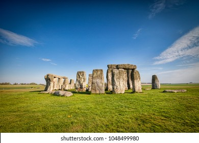 The famous prehistoric stone circle at Stonehenge on a bright spring day.